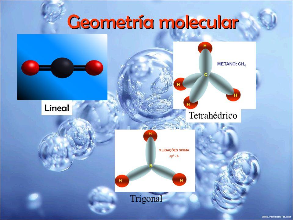 Geometría molecular 107º 104.5º 109º piramidal tetrahedro