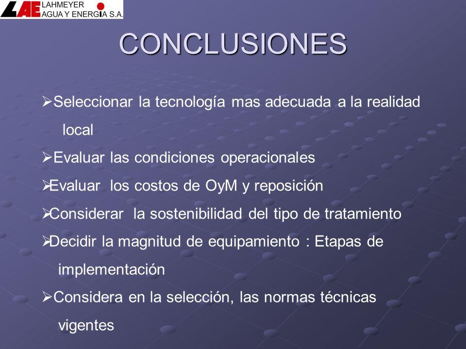 CONCLUSIONES Seleccionar la tecnología mas adecuada a la realidad local Evaluar las condiciones operacionales Evaluar los costos de OyM y reposición C
