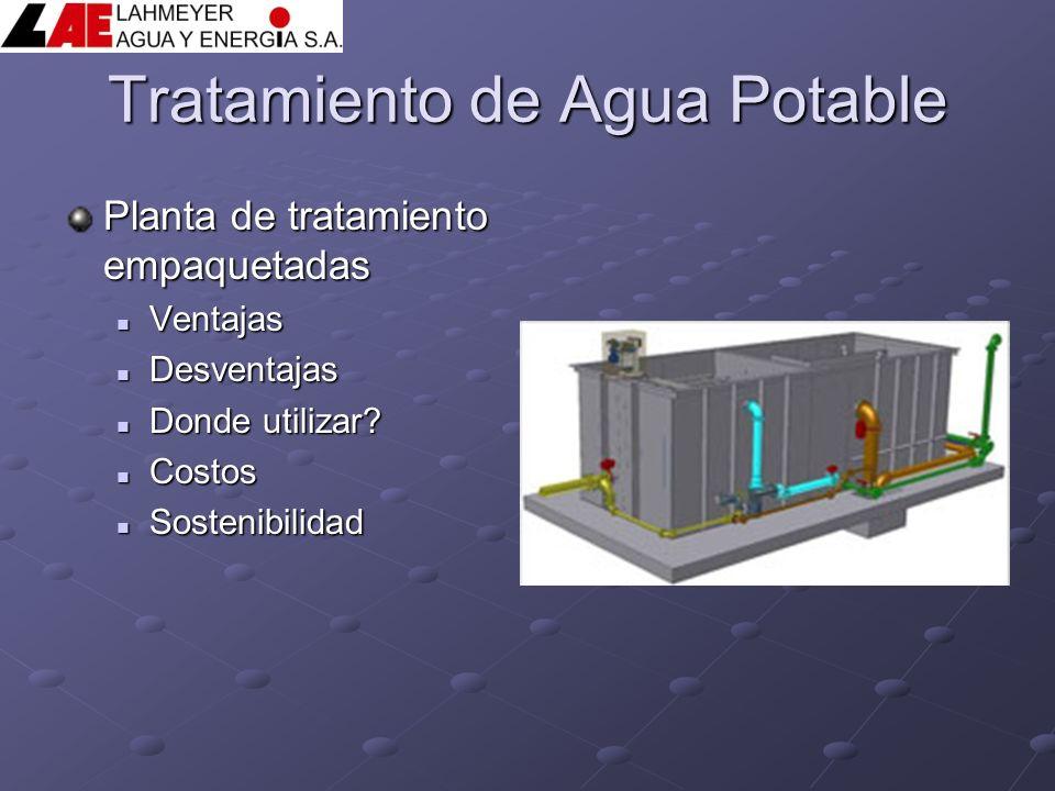 Tratamiento de Agua Potable Planta de tratamiento empaquetadas Ventajas Ventajas Desventajas Desventajas Donde utilizar? Donde utilizar? Costos Costos