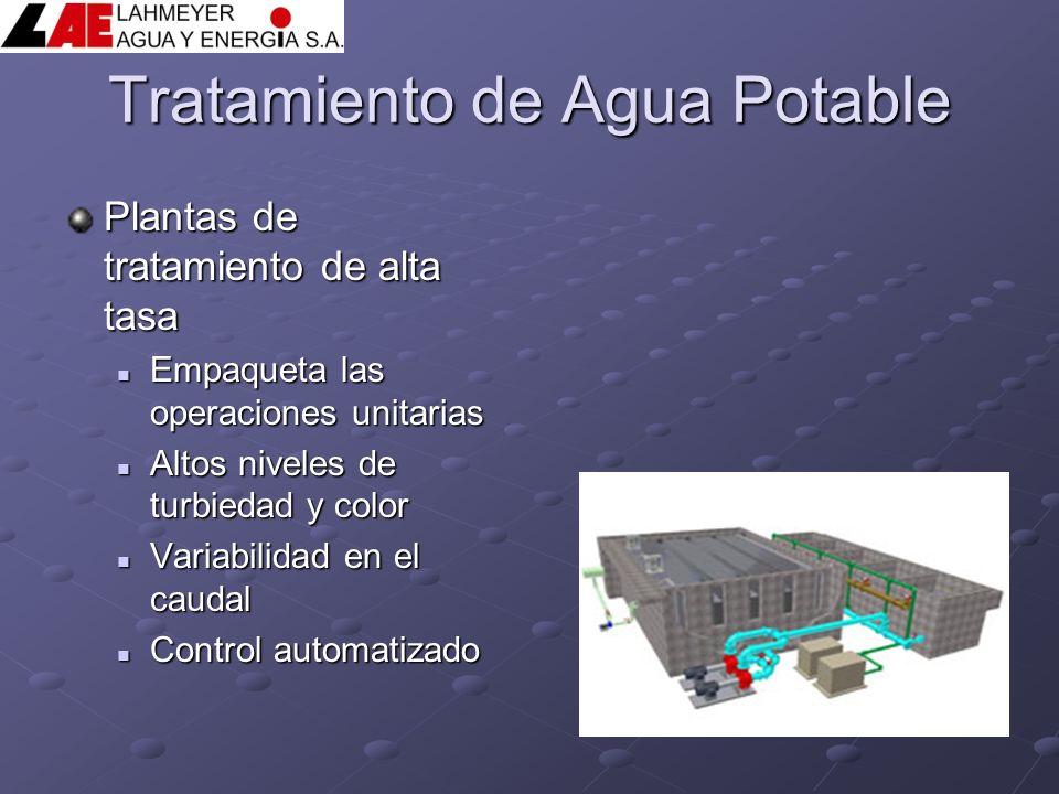 Tratamiento de Agua Potable Plantas de tratamiento de alta tasa Empaqueta las operaciones unitarias Empaqueta las operaciones unitarias Altos niveles