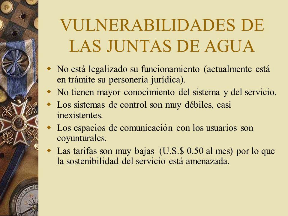 VULNERABILIDADES DE LAS JUNTAS DE AGUA No está legalizado su funcionamiento (actualmente está en trámite su personería jurídica).