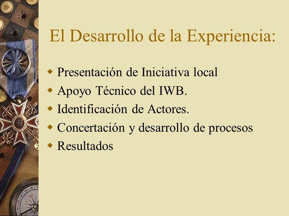 El Desarrollo de la Experiencia: Presentación de Iniciativa local Apoyo Técnico del IWB.