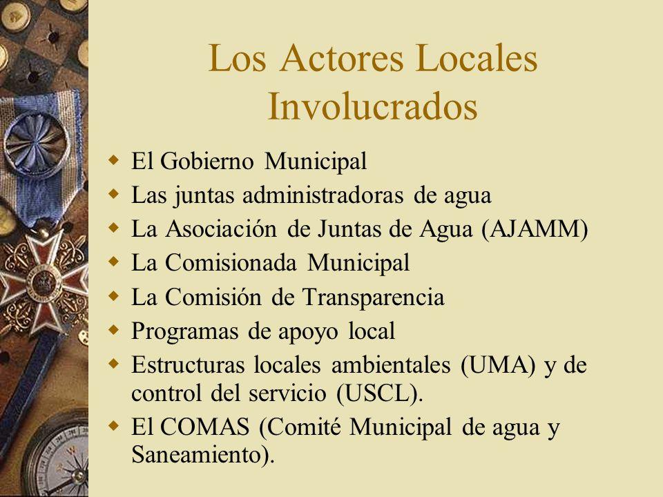 Los Actores Locales Involucrados El Gobierno Municipal Las juntas administradoras de agua La Asociación de Juntas de Agua (AJAMM) La Comisionada Municipal La Comisión de Transparencia Programas de apoyo local Estructuras locales ambientales (UMA) y de control del servicio (USCL).