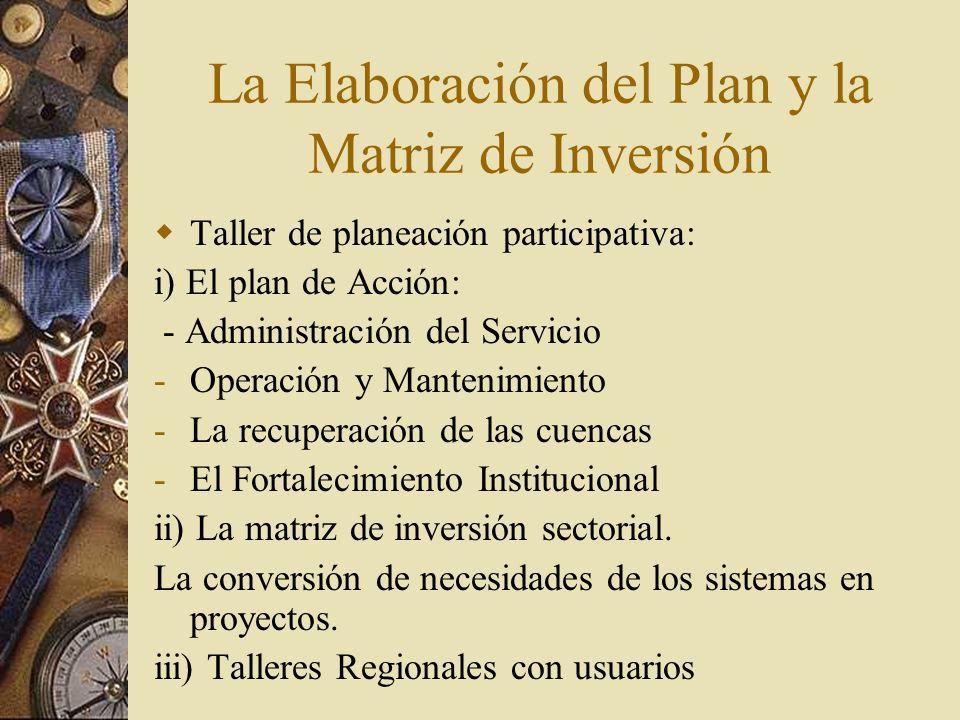 La Elaboración del Plan y la Matriz de Inversión Taller de planeación participativa: i) El plan de Acción: - Administración del Servicio -Operación y Mantenimiento -La recuperación de las cuencas -El Fortalecimiento Institucional ii) La matriz de inversión sectorial.