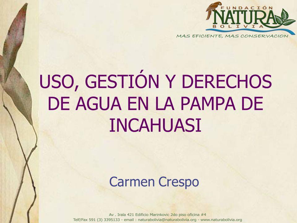 USO, GESTIÓN Y DERECHOS DE AGUA EN LA PAMPA DE INCAHUASI Carmen Crespo