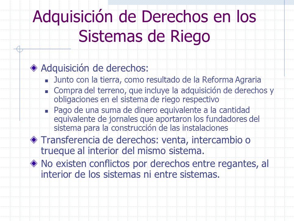 Adquisición de Derechos en los Sistemas de Riego Adquisición de derechos: Junto con la tierra, como resultado de la Reforma Agraria Compra del terreno
