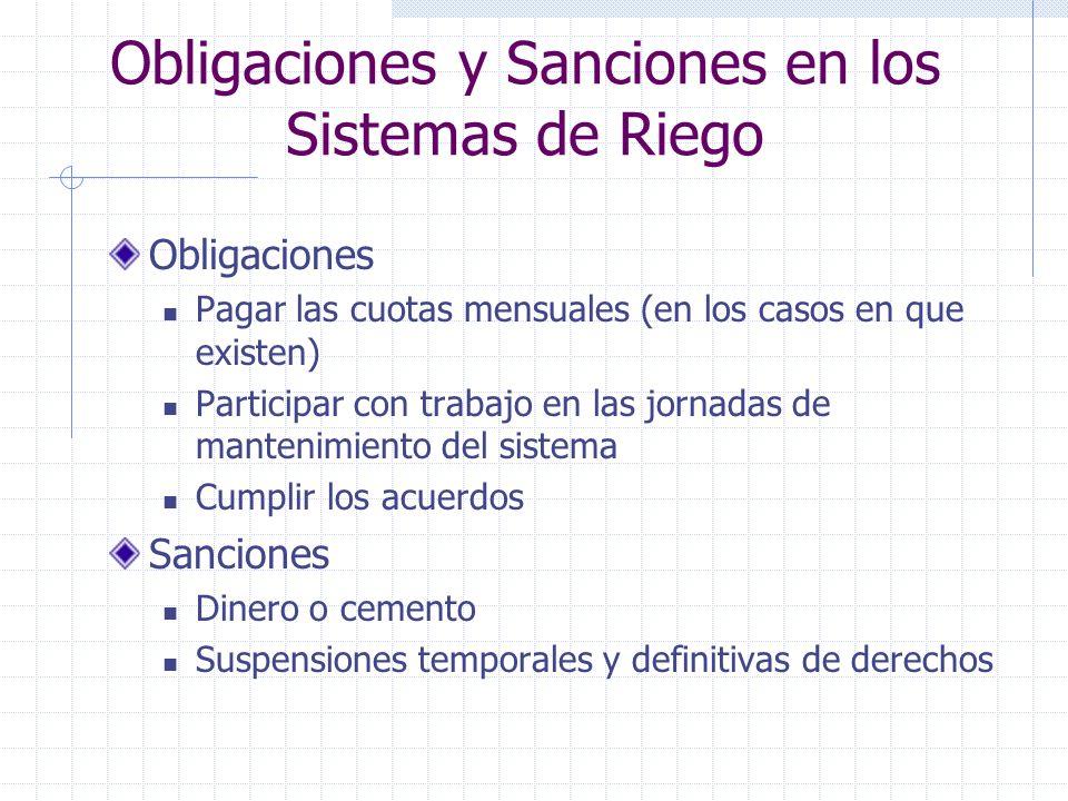 Obligaciones y Sanciones en los Sistemas de Riego Obligaciones Pagar las cuotas mensuales (en los casos en que existen) Participar con trabajo en las