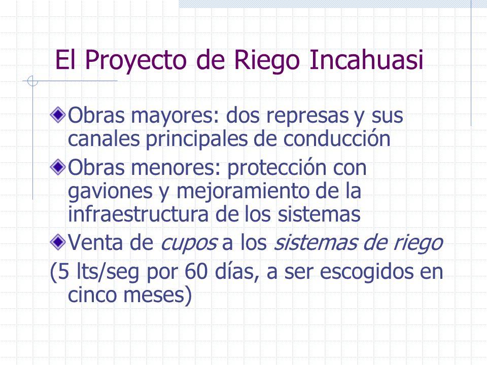 El Proyecto de Riego Incahuasi Obras mayores: dos represas y sus canales principales de conducción Obras menores: protección con gaviones y mejoramien