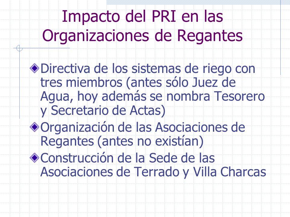 Impacto del PRI en las Organizaciones de Regantes Directiva de los sistemas de riego con tres miembros (antes sólo Juez de Agua, hoy además se nombra