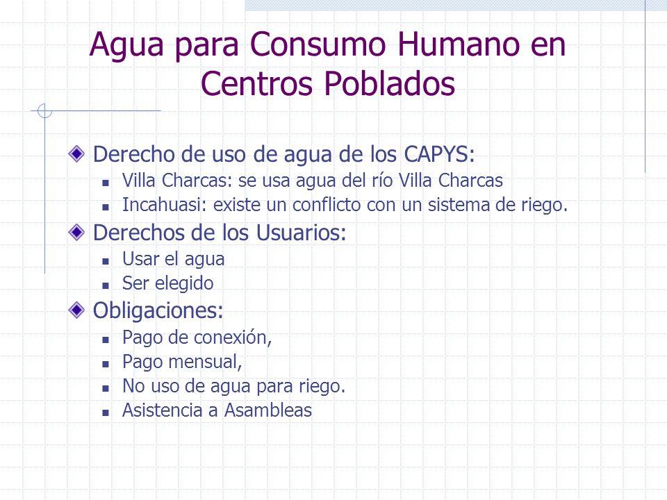 Agua para Consumo Humano en Centros Poblados Derecho de uso de agua de los CAPYS: Villa Charcas: se usa agua del río Villa Charcas Incahuasi: existe u