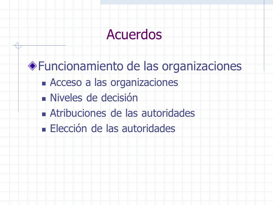 Acuerdos Funcionamiento de las organizaciones Acceso a las organizaciones Niveles de decisión Atribuciones de las autoridades Elección de las autorida