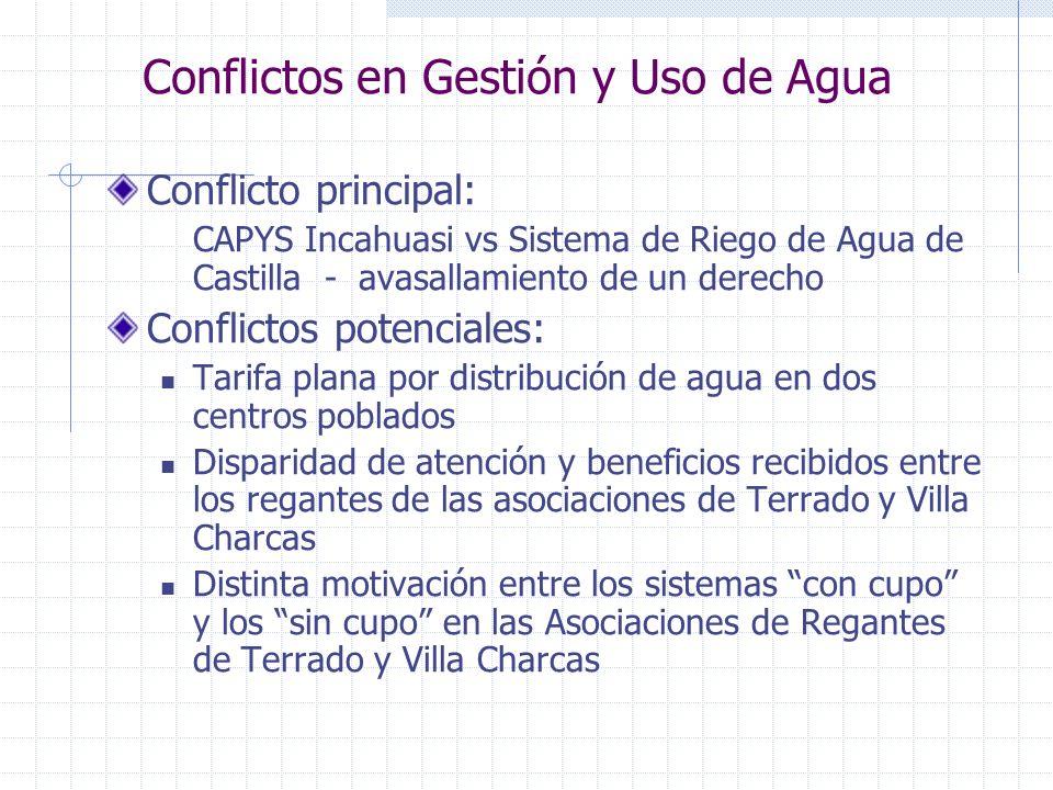 Conflictos en Gestión y Uso de Agua Conflicto principal: CAPYS Incahuasi vs Sistema de Riego de Agua de Castilla - avasallamiento de un derecho Confli