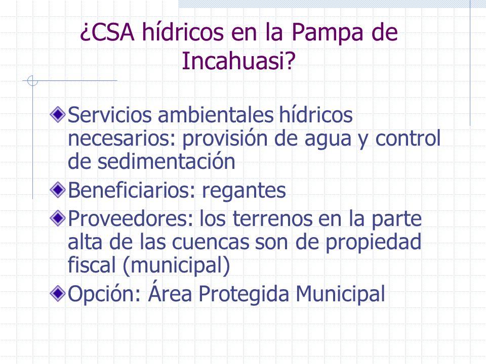 ¿CSA hídricos en la Pampa de Incahuasi? Servicios ambientales hídricos necesarios: provisión de agua y control de sedimentación Beneficiarios: regante