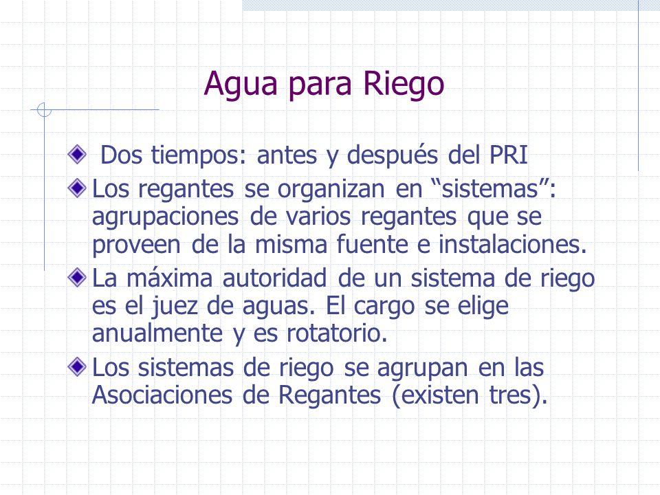 Agua para Riego Dos tiempos: antes y después del PRI Los regantes se organizan en sistemas: agrupaciones de varios regantes que se proveen de la misma