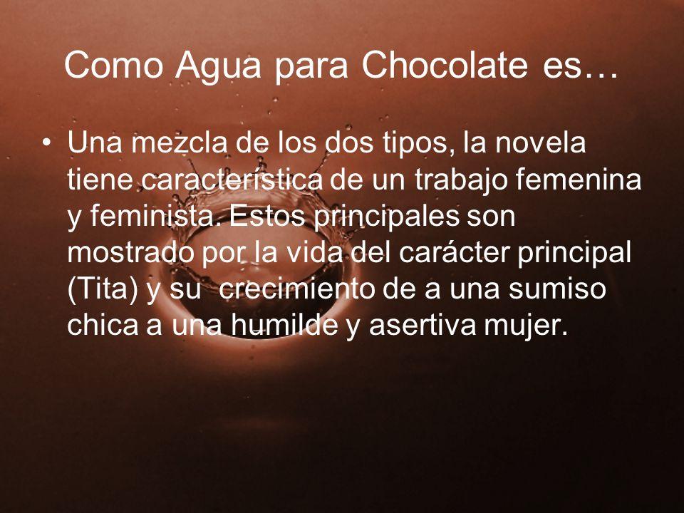 Como Agua para Chocolate es… Una mezcla de los dos tipos, la novela tiene característica de un trabajo femenina y feminista. Estos principales son mos