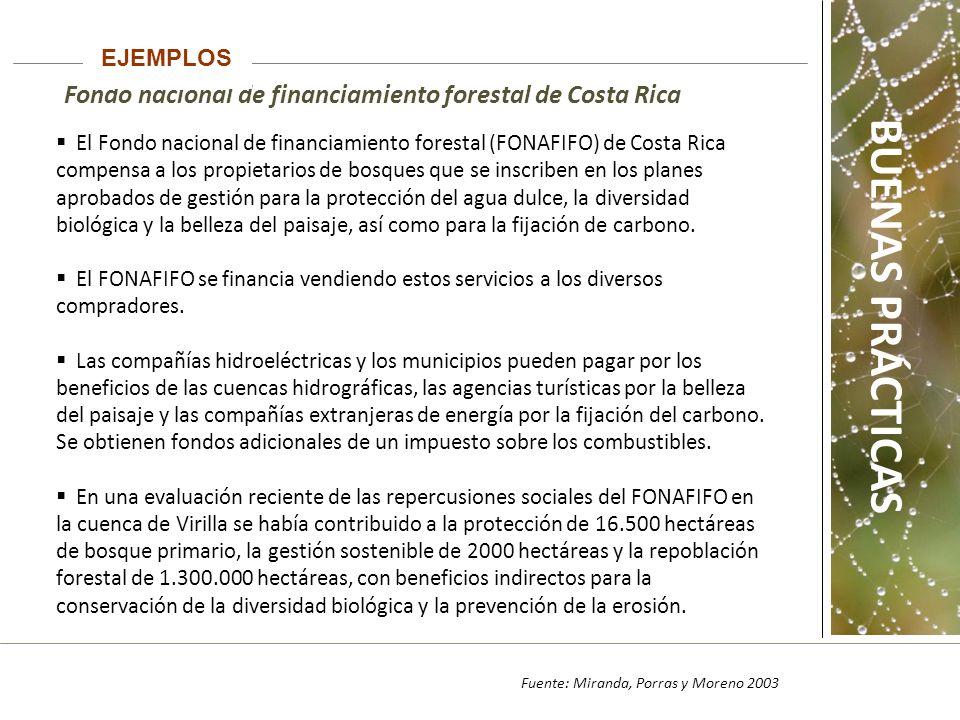 Fondo nacional de financiamiento forestal de Costa Rica EJEMPLOS Fuente: Miranda, Porras y Moreno 2003 El Fondo nacional de financiamiento forestal (FONAFIFO) de Costa Rica compensa a los propietarios de bosques que se inscriben en los planes aprobados de gestión para la protección del agua dulce, la diversidad biológica y la belleza del paisaje, así como para la fijación de carbono.