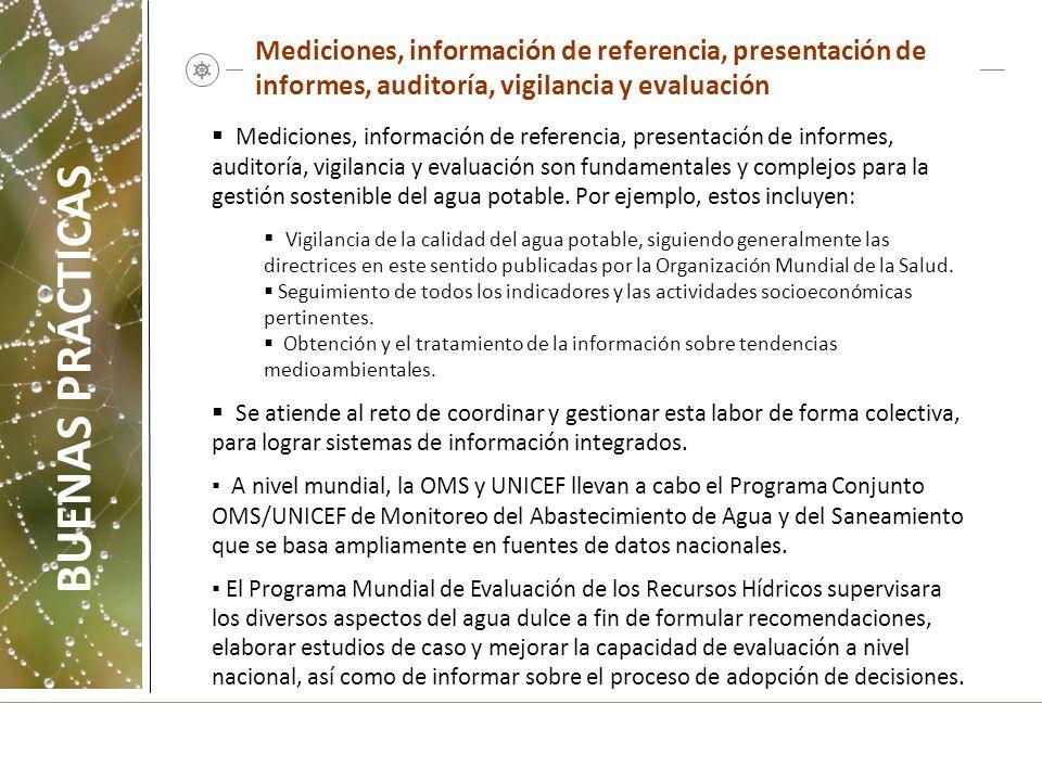 Mediciones, información de referencia, presentación de informes, auditoría, vigilancia y evaluación Mediciones, información de referencia, presentació