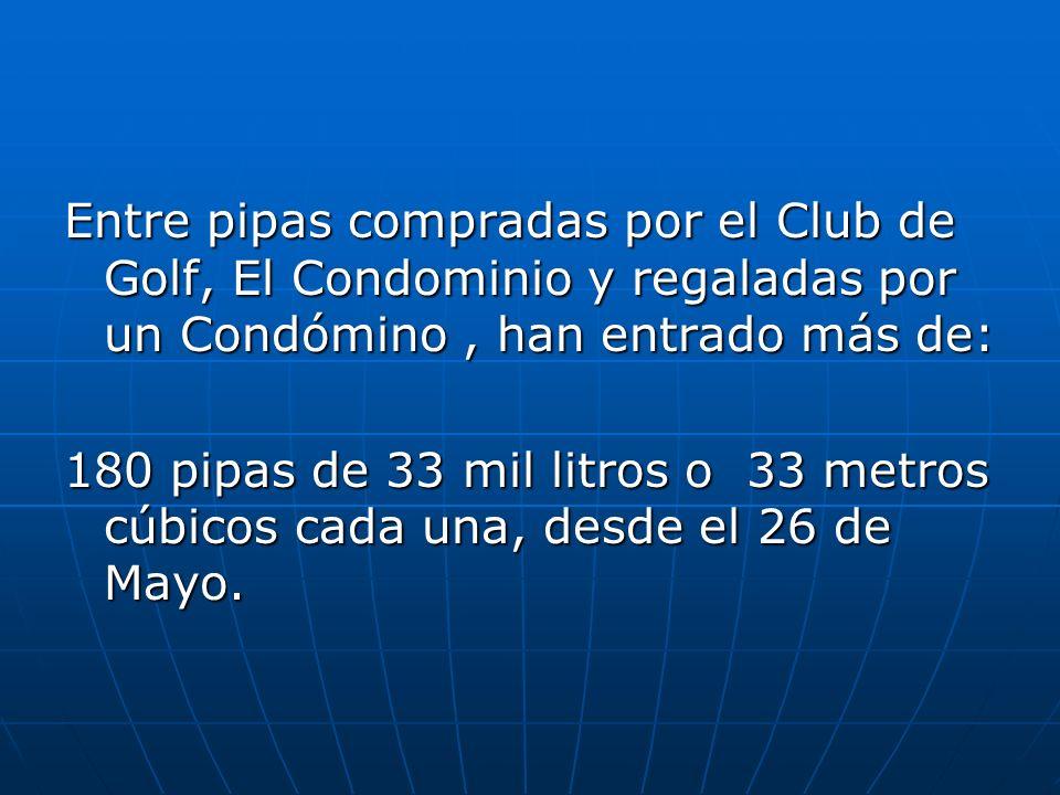 Entre pipas compradas por el Club de Golf, El Condominio y regaladas por un Condómino, han entrado más de: 180 pipas de 33 mil litros o 33 metros cúbicos cada una, desde el 26 de Mayo.