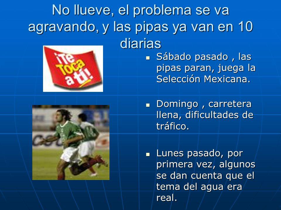 No llueve, el problema se va agravando, y las pipas ya van en 10 diarias Sábado pasado, las pipas paran, juega la Selección Mexicana.