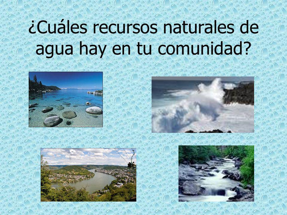 ¿Cuáles recursos naturales de agua hay en tu comunidad?