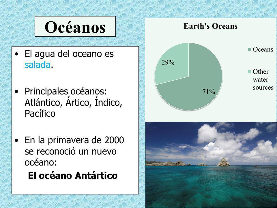 Océanos El agua del oceano es salada. Principales océanos: Atlántico, Ártico, Índico, Pacífico En la primavera de 2000 se reconoció un nuevo océano: E