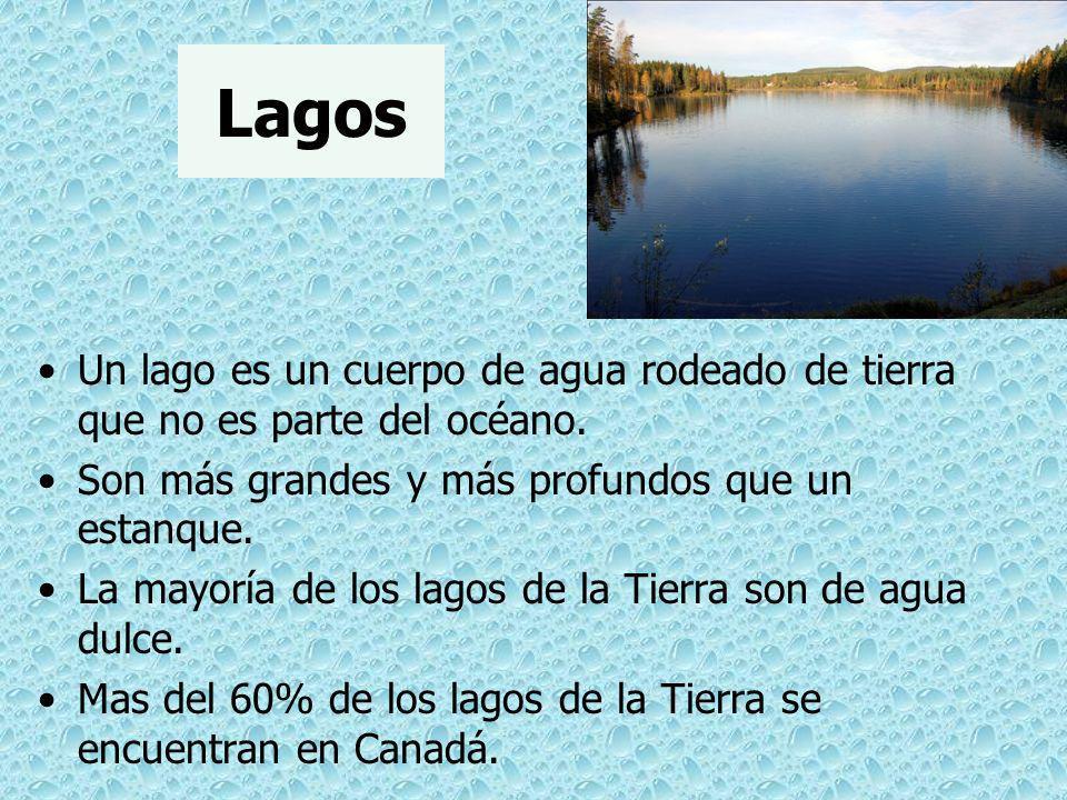 Lagos Un lago es un cuerpo de agua rodeado de tierra que no es parte del océano. Son más grandes y más profundos que un estanque. La mayoría de los la