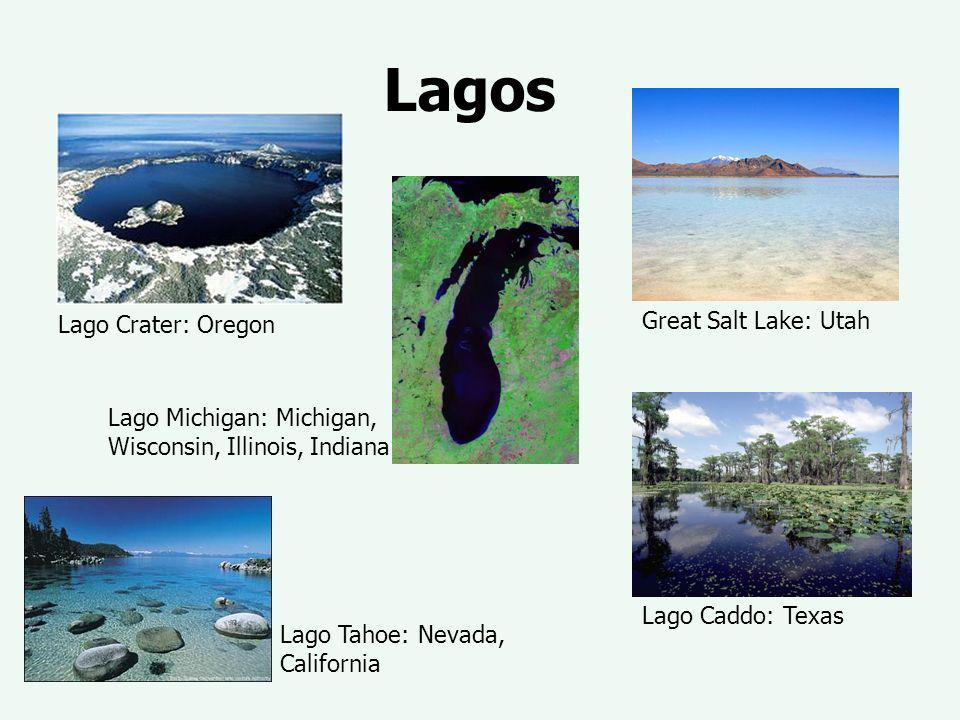 Lagos Lago Crater: Oregon Great Salt Lake: Utah Lago Michigan: Michigan, Wisconsin, Illinois, Indiana Lago Caddo: Texas Lago Tahoe: Nevada, California