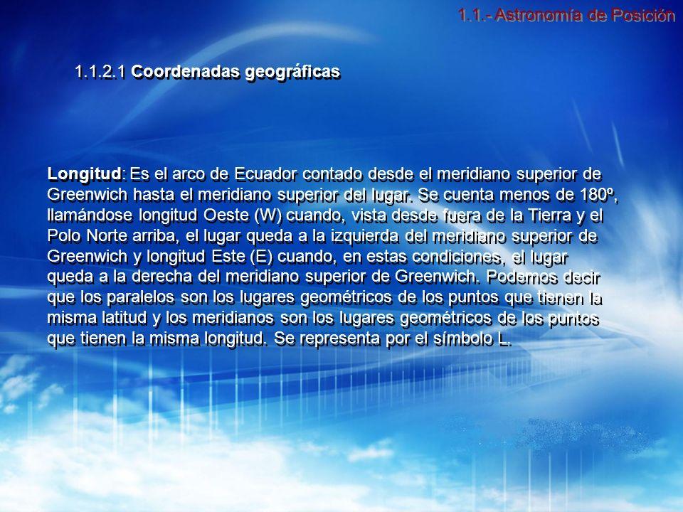 Longitud: Es el arco de Ecuador contado desde el meridiano superior de Greenwich hasta el meridiano superior del lugar.