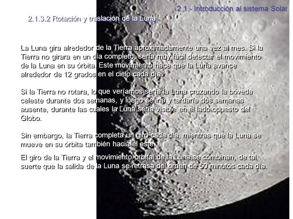 2.1.3.2 Rotación y traslación de la Luna La Luna gira alrededor de la Tierra aproximadamente una vez al mes.