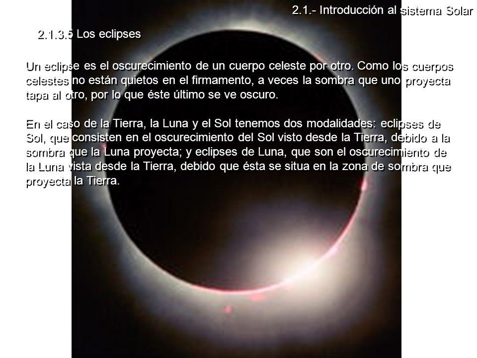 2.1.3.5 Los eclipses Un eclipse es el oscurecimiento de un cuerpo celeste por otro.