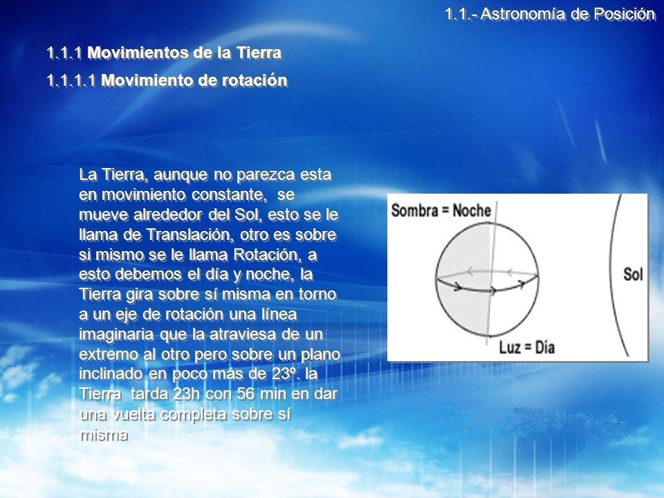 1.1.- Astronomía de Posición 1.1.1 Movimientos de la Tierra 1.1.1.1 Movimiento de rotación La Tierra, aunque no parezca esta en movimiento constante, se mueve alrededor del Sol, esto se le llama de Translación, otro es sobre si mismo se le llama Rotación, a esto debemos el día y noche, la Tierra gira sobre sí misma en torno a un eje de rotación una línea imaginaria que la atraviesa de un extremo al otro pero sobre un plano inclinado en poco más de 23º.