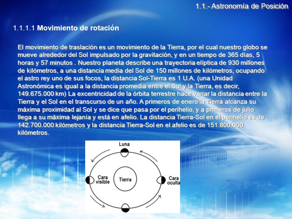 1.1.1.2 Movimiento de precesión de los equinoccios Los movimientos de rotación y traslación serían los únicos que la Tierra ejecutaría si ésta fuese completamente esférica, pero al ser un elipsoide de forma irregular aplastado por los polos la atracción gravitacional del Sol y de la Luna, y en menor medida de los planetas, sobre el ensanchamiento ecuatorial provocan una especie de lentísimo balanceo en la Tierra durante su movimiento de traslación que recibe el nombre de precesión o precesión de los equinoccios, y que se efectúa en sentido inverso al de rotación 1.1.- Astronomía de Posición