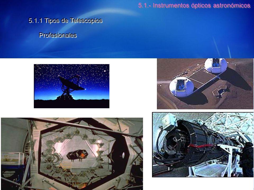 5.1.- Instrumentos ópticos astronómicos 5.1.1 Tipos de Telescopios Profesionales