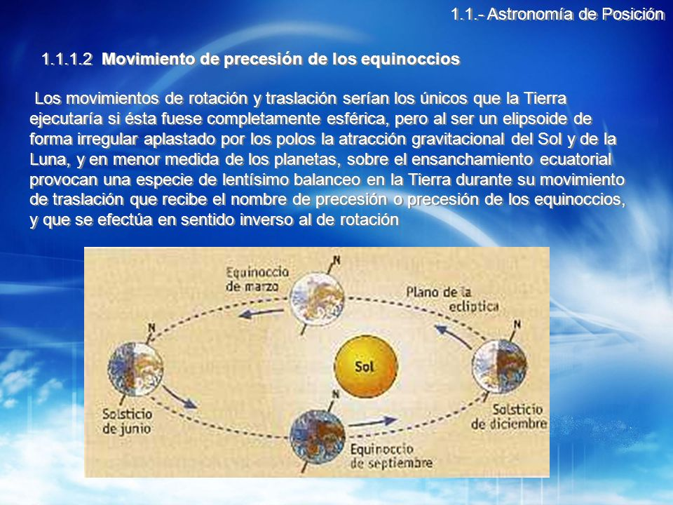 Debido a la precesión de los equinoccios se dan las siguientes consecuencias: La posición del polo celeste va cambiando a través de los siglos.