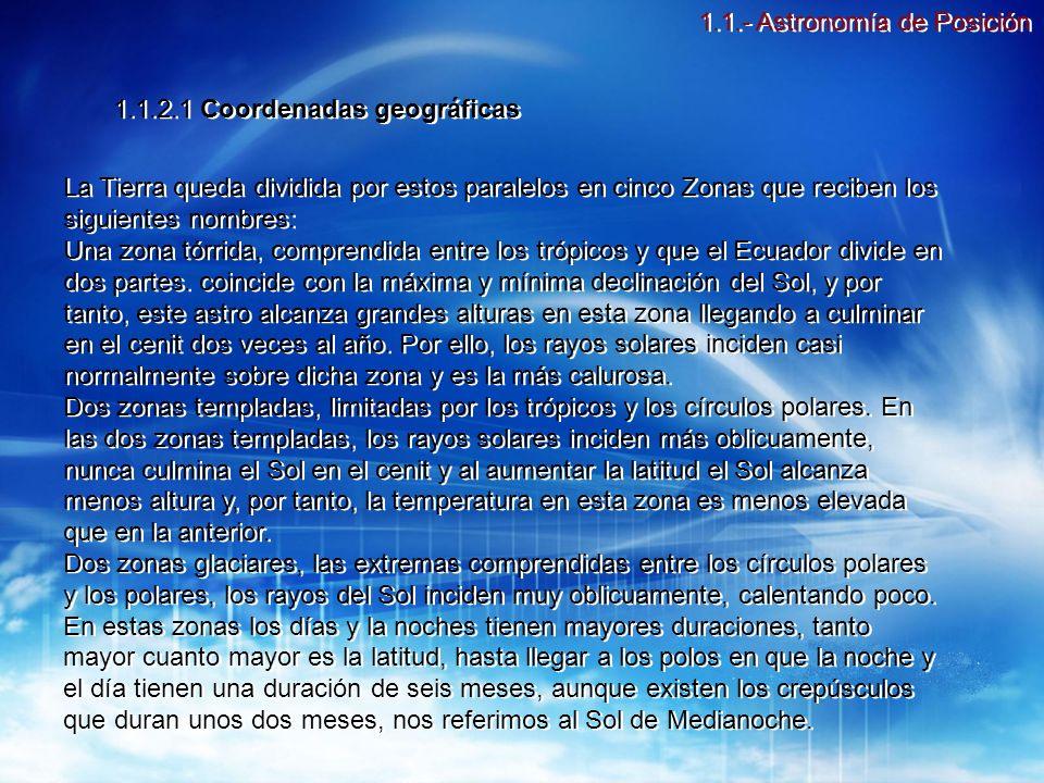 1.1.2.1 Coordenadas geográficas Meridianos: Son los círculos máximos que pasan por los polos y son normales al Ecuador.