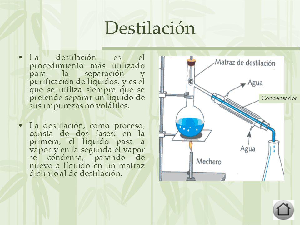 Destilación La destilación es el procedimiento más utilizado para la separación y purificación de líquidos, y es el que se utiliza siempre que se pretende separar un líquido de sus impurezas no volátiles.