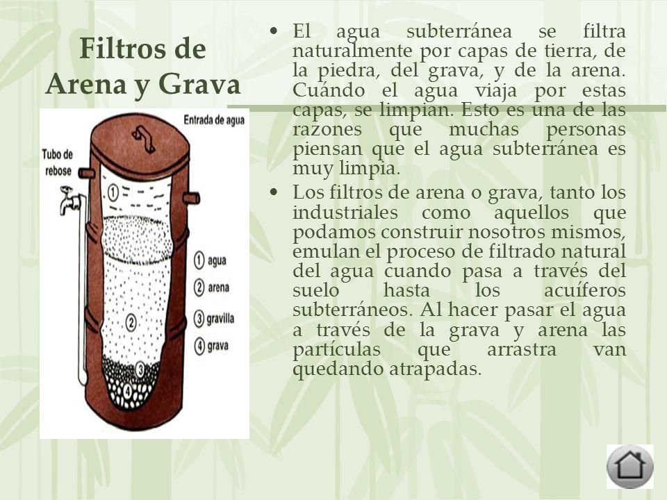 Filtros de Arena y Grava El agua subterránea se filtra naturalmente por capas de tierra, de la piedra, del grava, y de la arena.
