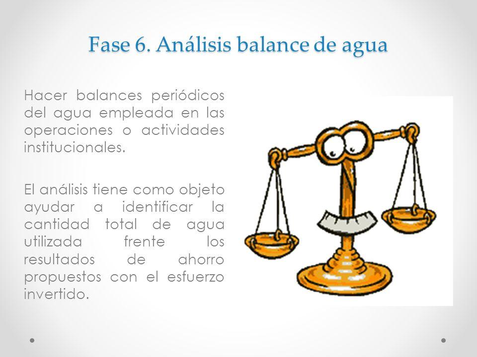 Fase 6. Análisis balance de agua Hacer balances periódicos del agua empleada en las operaciones o actividades institucionales. El análisis tiene como