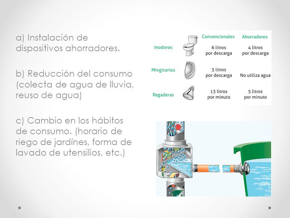 a) Instalación de dispositivos ahorradores. b) Reducción del consumo (colecta de agua de lluvia, reuso de agua) c) Cambio en los hábitos de consumo. (