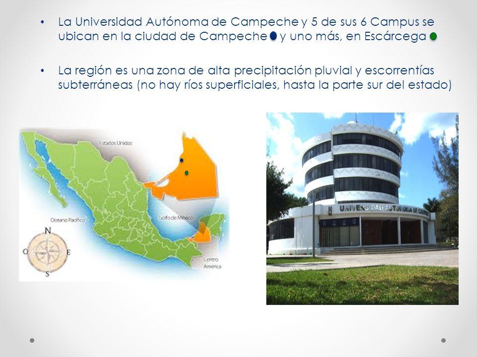La Universidad Autónoma de Campeche y 5 de sus 6 Campus se ubican en la ciudad de Campeche y uno más, en Escárcega La región es una zona de alta preci