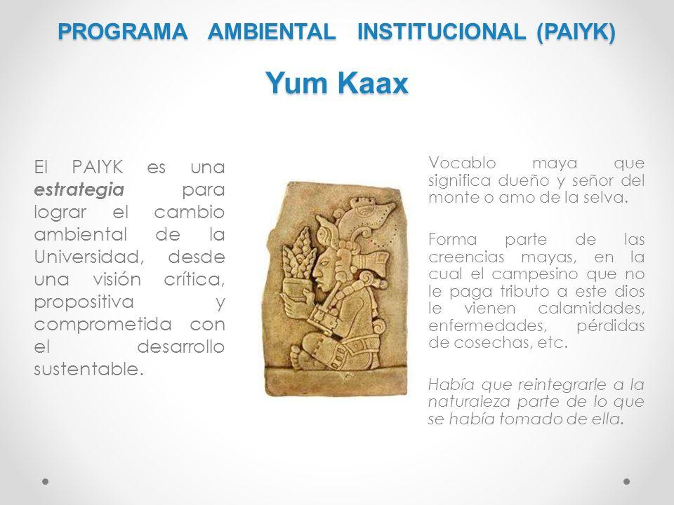 PROGRAMA AMBIENTAL INSTITUCIONAL (PAIYK) Yum Kaax El PAIYK es una estrategia para lograr el cambio ambiental de la Universidad, desde una visión críti