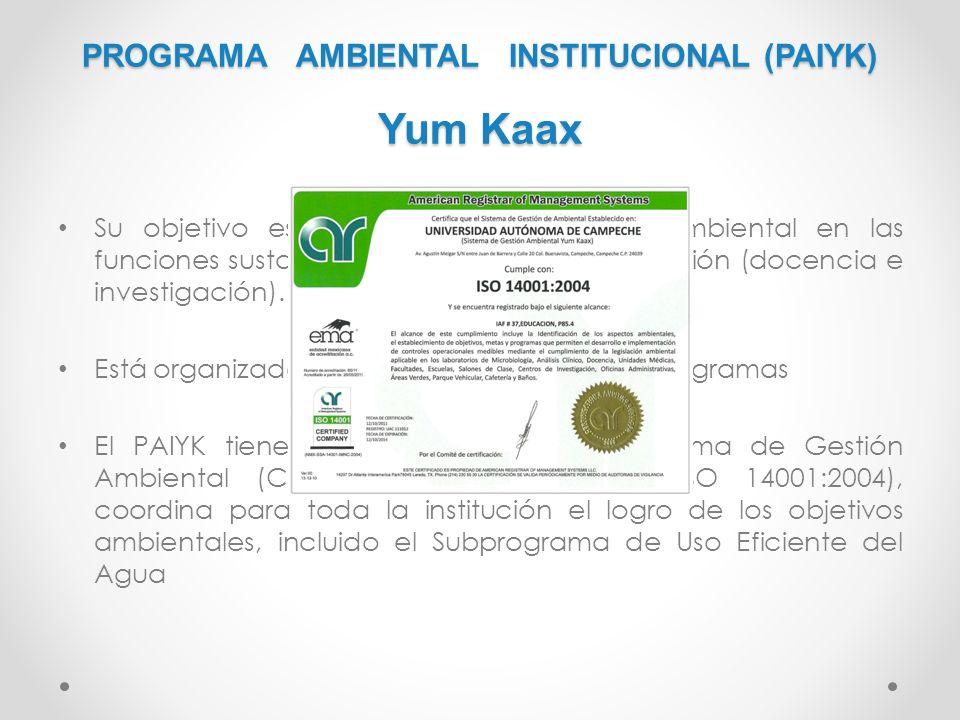 PROGRAMA AMBIENTAL INSTITUCIONAL (PAIYK) Yum Kaax Su objetivo es incorporar la dimensión ambiental en las funciones sustantivas y adjetivas de la inst