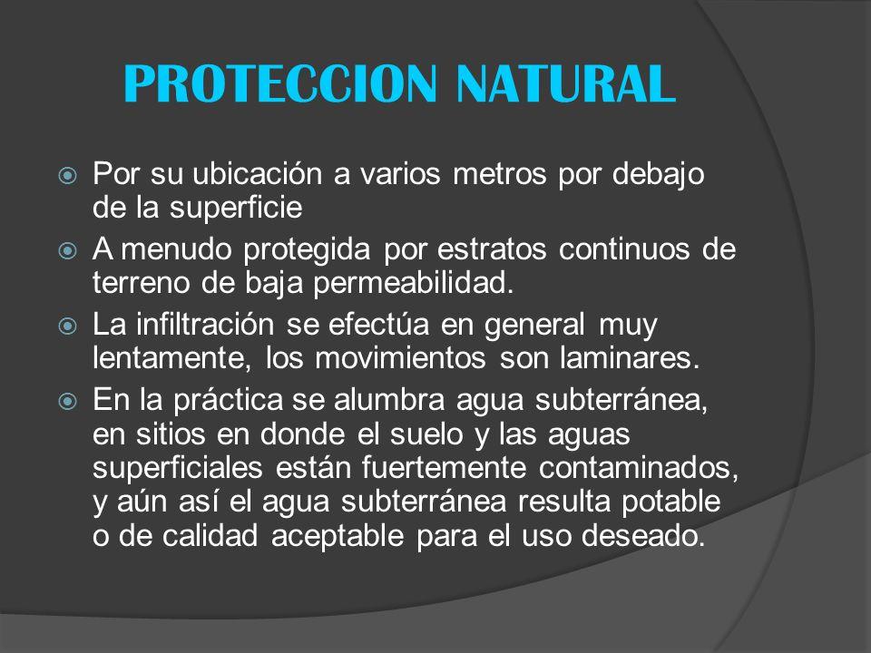 PROTECCION NATURAL Por su ubicación a varios metros por debajo de la superficie A menudo protegida por estratos continuos de terreno de baja permeabil