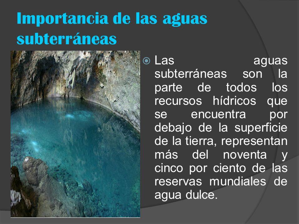 Importancia de las aguas subterráneas Las aguas subterráneas son la parte de todos los recursos hídricos que se encuentra por debajo de la superficie
