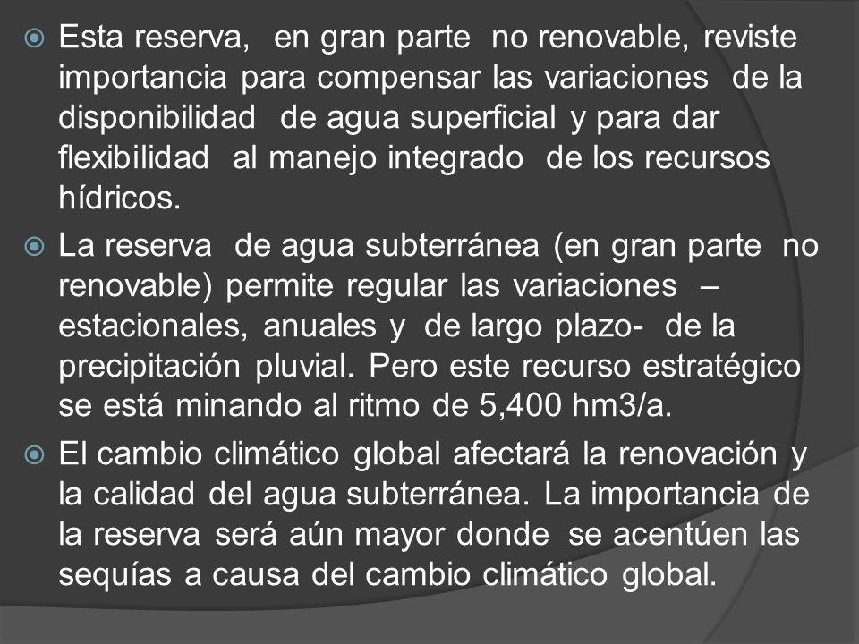 Esta reserva, en gran parte no renovable, reviste importancia para compensar las variaciones de la disponibilidad de agua superficial y para dar flexi
