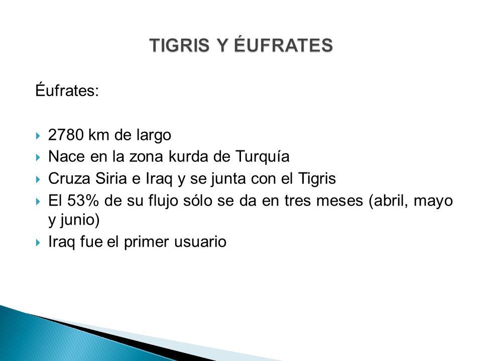 Éufrates: 2780 km de largo Nace en la zona kurda de Turquía Cruza Siria e Iraq y se junta con el Tigris El 53% de su flujo sólo se da en tres meses (a