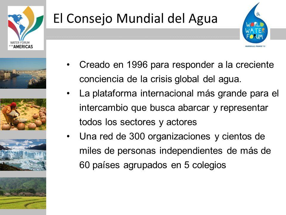 El Consejo Mundial del Agua Creado en 1996 para responder a la creciente conciencia de la crisis global del agua. La plataforma internacional más gran