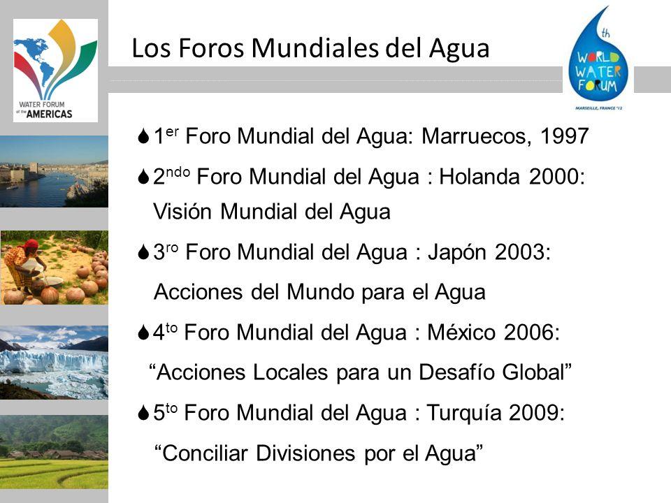 1 er Foro Mundial del Agua: Marruecos, 1997 2 ndo Foro Mundial del Agua : Holanda 2000: Visión Mundial del Agua 3 ro Foro Mundial del Agua : Japón 200