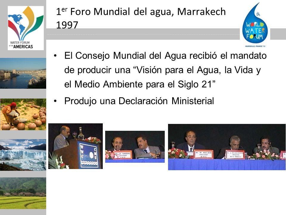 1 er Foro Mundial del agua, Marrakech 1997 El Consejo Mundial del Agua recibió el mandato de producir una Visión para el Agua, la Vida y el Medio Ambi