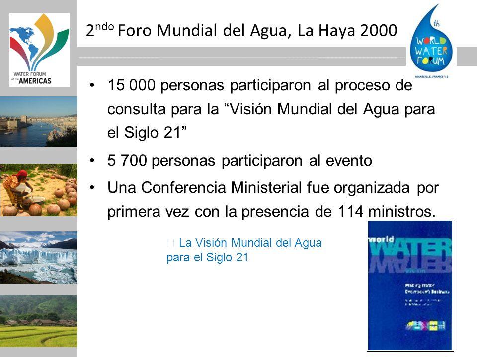2 ndo Foro Mundial del Agua, La Haya 2000 15 000 personas participaron al proceso de consulta para la Visión Mundial del Agua para el Siglo 21 5 700 p